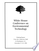 White House Conference On Environmental Technology 1994  Book PDF