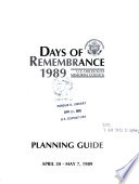 Days of Remembrance  1989 Book PDF