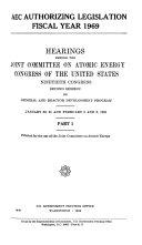 AEC Authorizing Legislation, Fiscal Year 1969