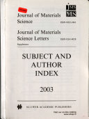 Subject and Author Index