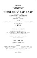 Mews' Digest of English Case Law ebook