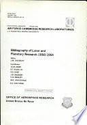 Bibliography of Lunar and Planetary Research 1960-1964