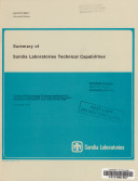 Summary of Sandia Laboratories Technical Capabilities Book