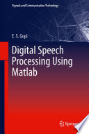 Digital Speech Processing Using Matlab Book PDF