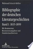 Bibliographie der deutschen Literaturgeschichten: 1835-1899