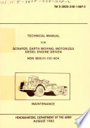 Technical Manual For Scraper Earth Moving Motorized Diesel Engine Driven Nsn 3805 01 153 1854
