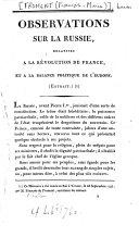 Observations sur la Russie, relatives à la révolution de France, et à la balance politique de l'Europe