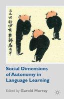 Social Dimensions of Autonomy in Language Learning Pdf/ePub eBook