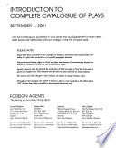 Complete Catalogue of Plays