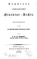 Sammlung Altw  rtembergischer Statut  r Rechte