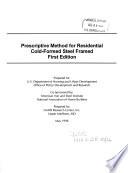 Prescriptive Method for Residential Cold formed Steel Framed  i e  Framing