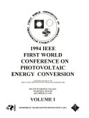 1994 IEEE First World Conference on Photovoltaic Energy Conversion Book