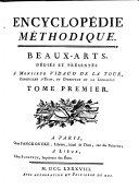 Encyclopédie Méthodique. Beaux-arts