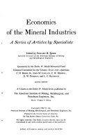 Economics Of The Mineral Industries