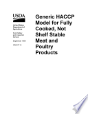 Generic HACCP model for fully cooked  not shelf stable meat and poultry products
