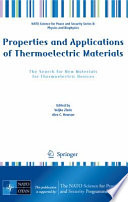 Properties And Applications Of Thermoelectric Materials Book PDF