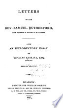 Letters Of The Rev S Rutherford