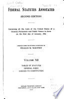 Federal Statutes Annotated Tables Of Statutes General Index Indexes To Constitution
