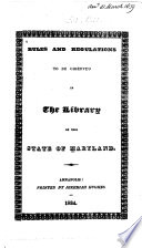 Catalogue Of The Library Of The State Of Maryland
