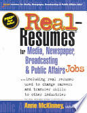 Real-resumes for Media, Newspaper, Broadcasting & Public Affairs Jobs–
