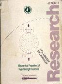 Mechanical Properties of High strength Concrete Book