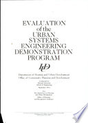 Evaluation of the Urban Systems Engineering Demonstration Program Book