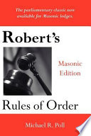 Robert S Rules Of Order Masonic Edition Book PDF