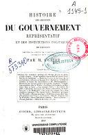 Histoire des origines du gouvernement représentatif en Europe: (VIII, 422 p.)
