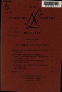 The Newberry Library Bulletin