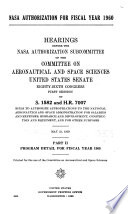 Nasa Authorization For Fiscal Year 1960