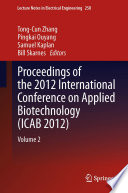 Proceedings Of The 2012 International Conference On Applied Biotechnology Icab 2012  Book PDF