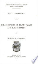 Reconnaissance Of The Borax Deposits Of Death Valley And Mohave Desert