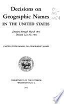 Decisions on Geographic Names in the United States Book