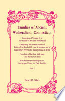 Families of Ancient Wethersfield, Connecticut, VOLUME 2 ONLY