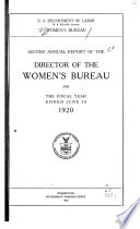 Annual Report of the Director of the Women s Bureau for the Fiscal Year Ended June 30