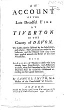 Pdf An Account of the late dreadful Fire at Tiverton ... the losses sustained, ... the contributions made for the sufferers, etc