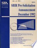 SBIR Pre-solicitation Announcement
