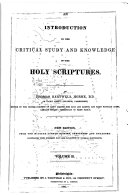 an introduction to the ctitical study and knowledge of the holy scriptures