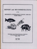 Report and Recommendations of the Minnesota Interagency Exotic Species Task Force