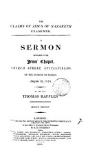 The claims of Jesus of Nazareth examined  a sermon