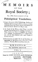 Memoirs of the Royal Society  Or a New Abridgment of the Philosophical Transactions from 1665 to 1740