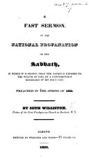 A Fast Sermon [on Neh. xiii. 17, 18] on the national profanation of the Sabbath, etc