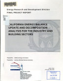 California Energy Balance Update And Decomposition Analysis For The Industry And Building Sectors