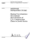 Defense infrastructure basing uncertainties necessitate reevaluation of U S  construction plans in South Korea  Book PDF