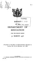 Report of the Department of Education for the Year Ending