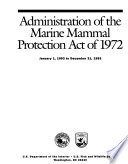 Administration of the Marine Mammal Protection Act of 1972 Book