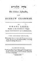 The Scholars  Instructor  An Hebrew Grammar