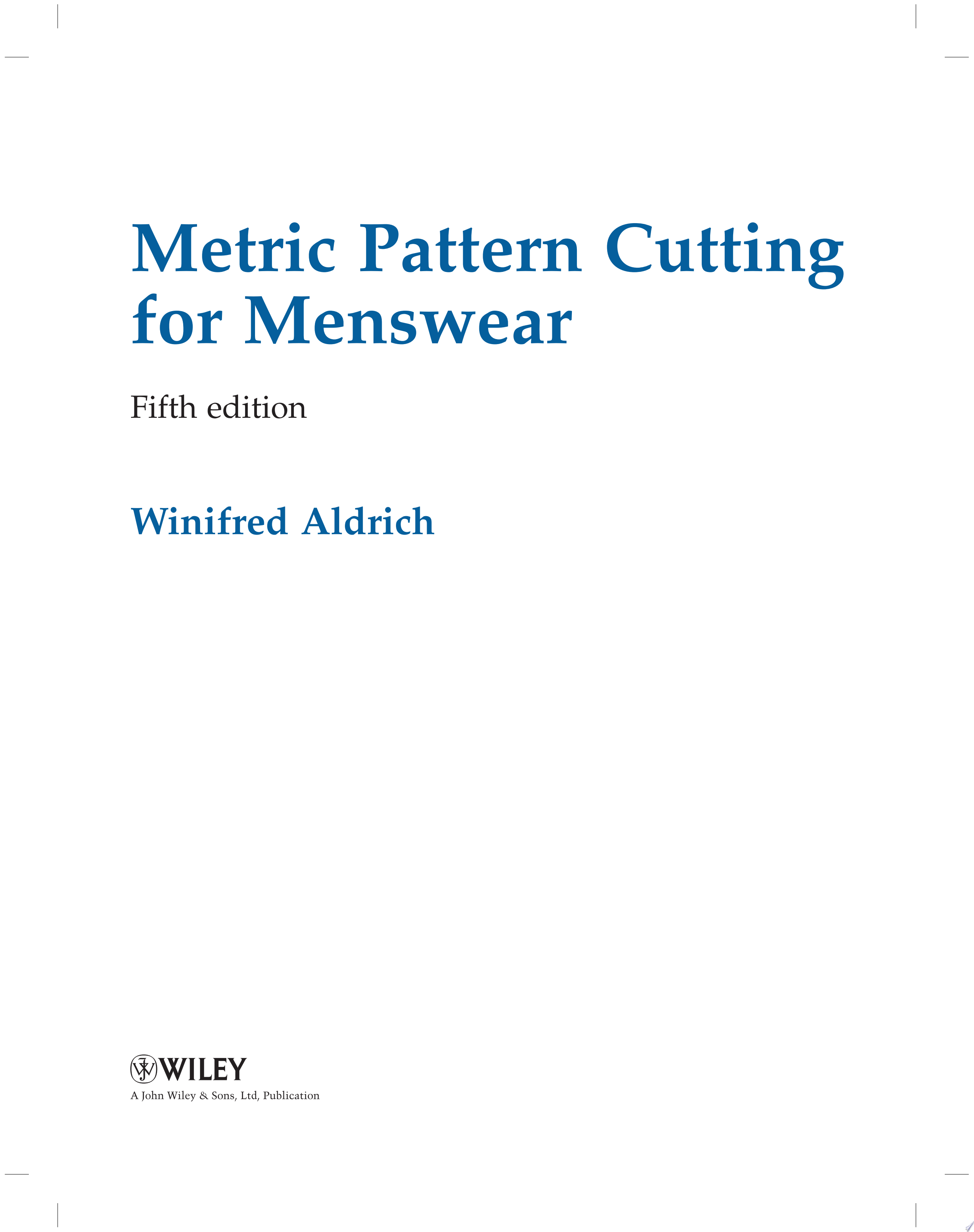 Metric Pattern Cutting for Menswear