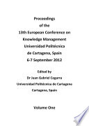 ECKM 2012-Proceedings of the 13th European Conference on Knowledge Management