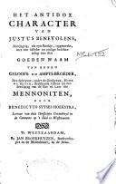 Het antidox character van Justus Benevolens, ..